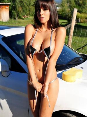 Bryci Busty Babe In Car Washing