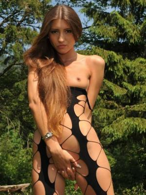 Emilia Sky Long Haired Chick Strips In The Mountains
