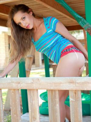 Amazing Amber D takes her clothes off in the playground